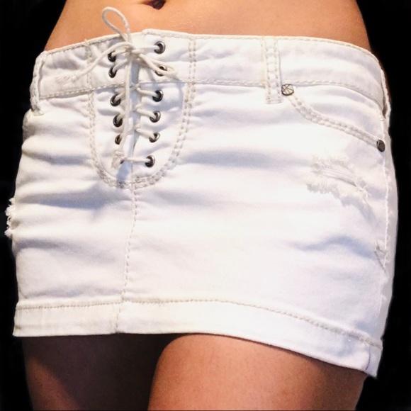 Hot Kiss Dresses & Skirts - Hot Kiss White LACE-UP Skylar Denim Skirt- 7